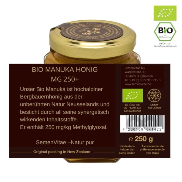 BIO Manuka Honig MG250+ 250g Etikett