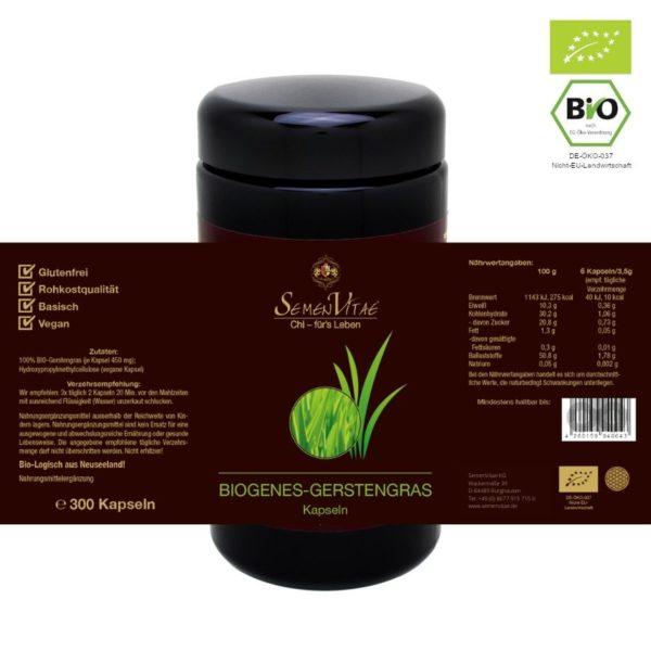 BIOgene Gerstengras Kapseln 300 Stk Etikett