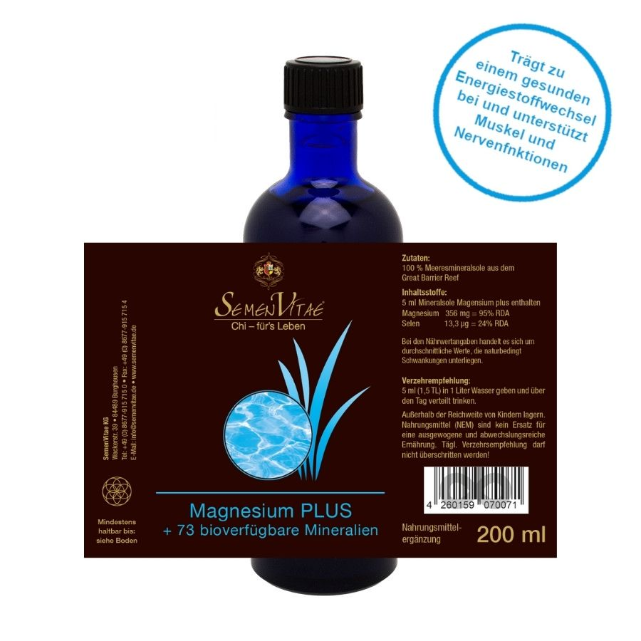 Mineralsole Magnesium plus 200ml Etikett