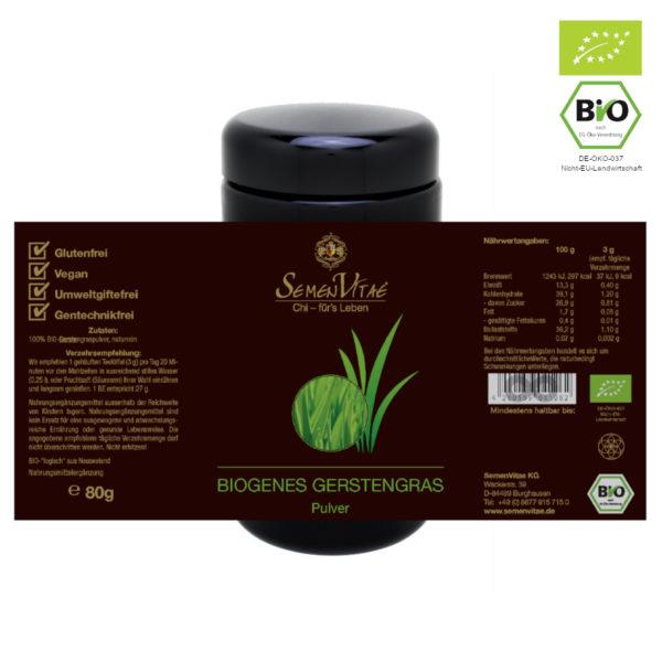 BIOgenes Gerstengras Pulver 80g Etikett